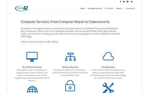 Screenshot of Services Page tech42llc.com - Computer Repair & Managed Computer Services - tech42 - captured Nov. 16, 2017
