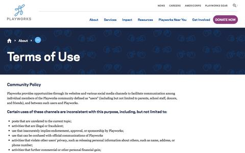 Screenshot of Terms Page playworks.org - Terms of Use | Playworks - captured July 20, 2018