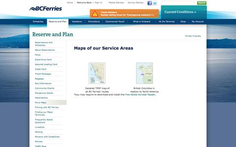 Screenshot of Maps & Directions Page bcferries.com - Maps of our Service Areas | BC Ferries - British Columbia Ferry Services Inc. - captured Sept. 22, 2014