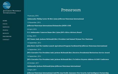 Screenshot of Press Page jwidc.com - Pressroom - JWI - captured Jan. 31, 2016
