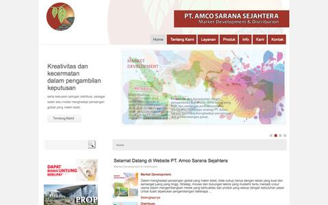 Screenshot of Home Page amcosaranasejahtera.com - PT. Amco Sarana Sejahtera - Market Development & Distribution - captured Oct. 1, 2014