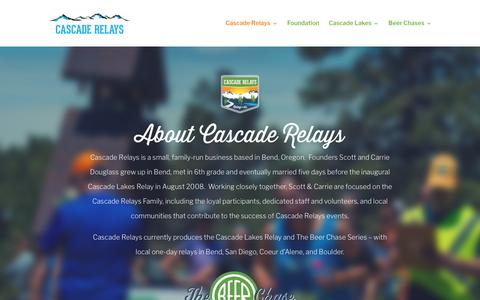 Screenshot of About Page cascaderelays.com - About Cascade Relays - Cascade Relays - captured Nov. 10, 2018
