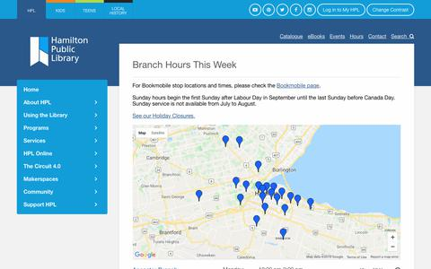 Screenshot of Hours Page hpl.ca - Branch Hours This Week | HPL - captured Sept. 23, 2018
