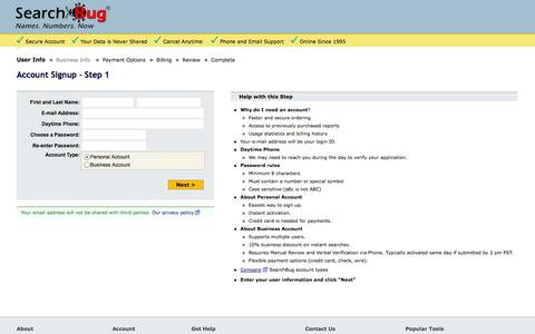 Screenshot of Signup Page searchbug.com - SearchBug Registration - Account Signup - captured Oct. 27, 2014