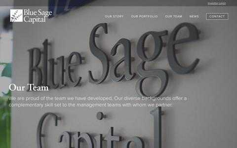 Screenshot of Team Page bluesage.com - Our Team | Blue Sage Capital - captured Oct. 6, 2018
