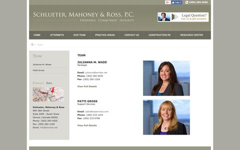 Screenshot of Team Page smrlaw.net - Meet The Team | Schlueter, Mahoney & Ross, P.C. - captured Oct. 2, 2018