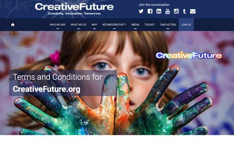 Screenshot of Terms Page creativefuture.org - Terms of service ~ CreativeFuture - captured July 23, 2018