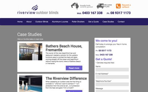 Screenshot of Case Studies Page riverviewoutdoorblinds.com.au - Outdoor Blind & Aluminium Shutters - Perth Case Studies - captured March 3, 2016