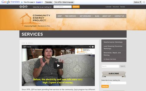 Screenshot of Services Page communityenergyproject.org - Services - Community Energy Project - captured Oct. 8, 2014