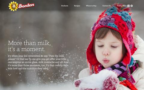 Screenshot of Home Page bordendairy.com - Borden Dairy Milk, Creams, Dips, Cottage Cheese and Other Grocery Products - captured Feb. 8, 2016