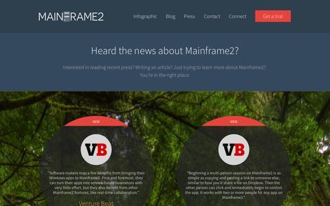 Screenshot of Press Page mainframe2.com - MAINFRAME2 · Press - captured Oct. 29, 2014