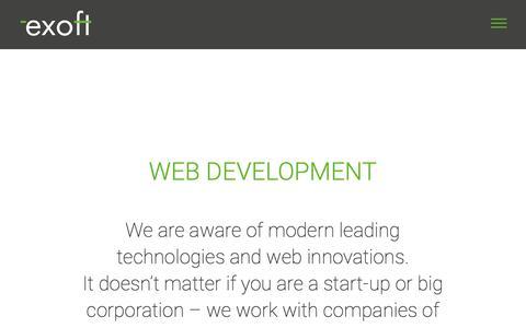 Screenshot of Services Page exoft.net - web development | Exoft Software Development Company - captured Nov. 5, 2018