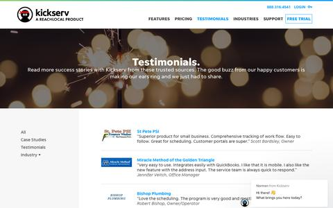Screenshot of Testimonials Page kickserv.com - TESTIMONIALS | Kickserv - captured May 30, 2019