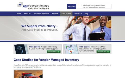 Screenshot of Case Studies Page asfcomponents.com - Vendor Managed Inventory   ASF Components - captured July 8, 2018