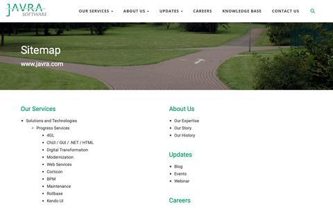 Screenshot of Site Map Page javra.com - Sitemap - Javra Software Pvt. Ltd. - captured Nov. 9, 2018