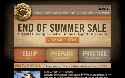 Screenshot of Home Page centennialgunclub.com - Centennial Gun Club | Denver Gun Store | Firearms Denver | Guns Denver - captured Sept. 29, 2014