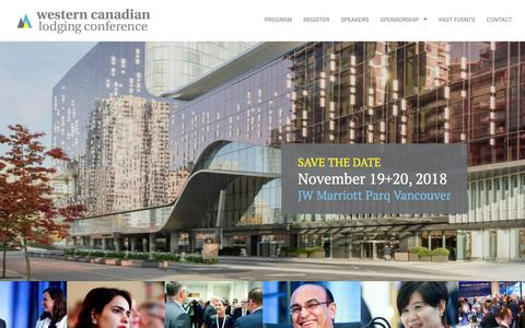 Screenshot of Home Page cdnlodgingconference.ca - #WCLC2018 | Western Canadian Lodging Conference - captured Oct. 24, 2018