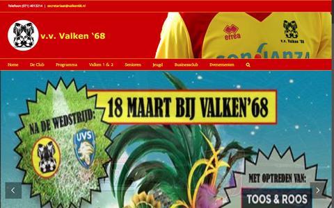 Screenshot of Home Page valken68.nl - V.V. Valken'68 – Voetbalvereniging Valken '68 - captured March 12, 2017