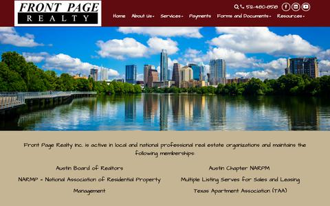 Screenshot of About Page frontpageproperties.com - Austin Property Management | Property Management Austin | Front Page Realty - captured Oct. 11, 2018