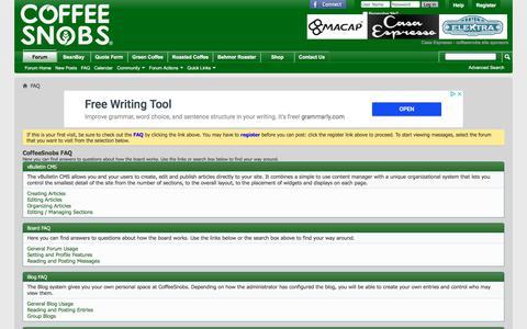 Screenshot of FAQ Page coffeesnobs.com.au - CoffeeSnobs FAQ - captured Sept. 23, 2018