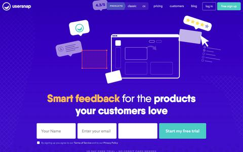 Screenshot of Home Page usersnap.com - Usersnap – Smart Feedback to Build Great Digital Products - captured May 9, 2018