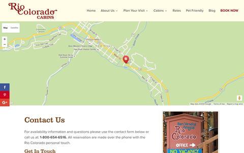 Screenshot of Contact Page riocoloradocabins.com - Book Now - Rio Colorado Cabins - captured June 19, 2016