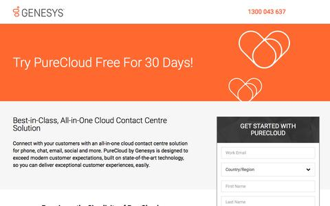 Screenshot of Trial Page genesys.com - PureCloud Free Trial – #1 Cloud Contact Centre | Genesys ANZ - captured May 3, 2018