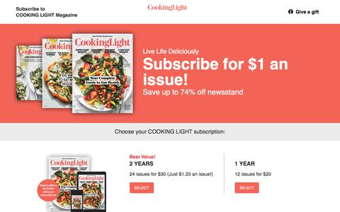 Screenshot of Landing Page cookinglight.com - Cooking Light Subscription Offer - captured May 9, 2018