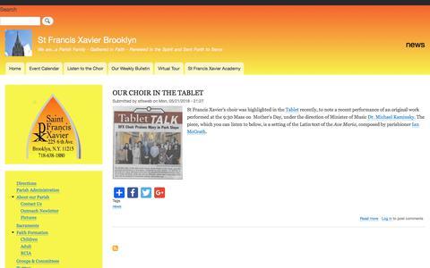 Screenshot of Press Page stfxbrooklyn.org - news | St Francis Xavier Brooklyn - captured July 2, 2018