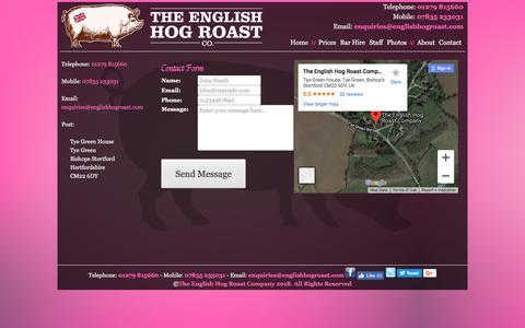 Screenshot of Contact Page theenglishhogroastcompany.co.uk - Contact The English Hog Roast Company | English Hog Roast Company - captured Sept. 20, 2018