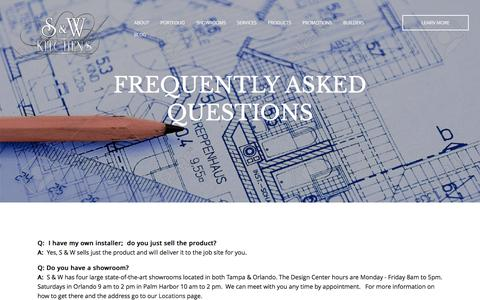 Screenshot of FAQ Page sandwkitchens.com - Frequently Asked Questions about kitchen and bath remodeling - captured Nov. 17, 2016