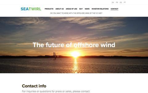 Screenshot of Contact Page seatwirl.com - Innovativ design med en vertikalaxlad turbin, VAWT. - captured Oct. 19, 2017