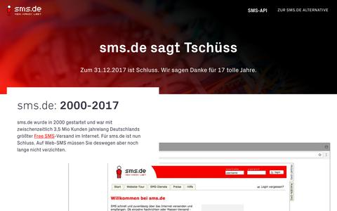 Screenshot of Home Page sms.de - SMS online versenden - captured Sept. 27, 2018