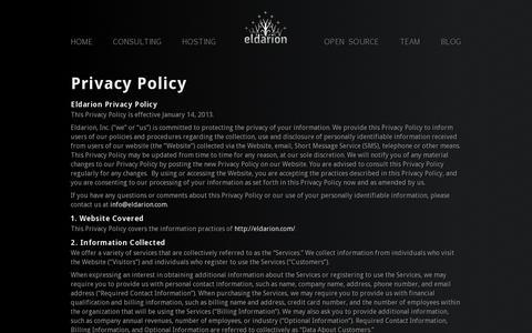 Screenshot of Privacy Page eldarion.com - Eldarion: Django Web Development and Hosting - captured July 19, 2014