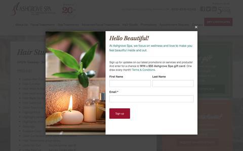 Screenshot of Services Page ashgrovespa.com - Hair Studio Price List | Ashgrove Spa - captured July 30, 2018