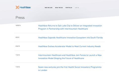 Screenshot of Press Page healthbox.com - Healthbox - captured July 3, 2016