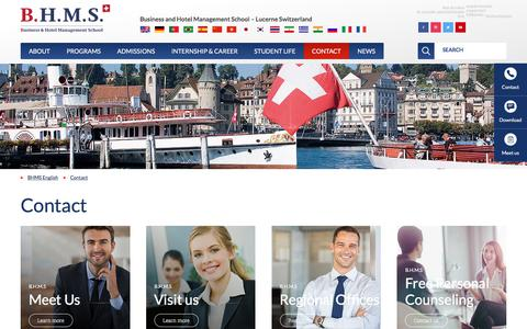 Screenshot of Contact Page bhms.ch - Contact B.H.M.S. Business and Hotelmanagement School Lucerne - captured Oct. 31, 2019