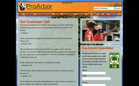 Screenshot of Testimonials Page proarbor.com - Our Customers Talk - Pro Arbor Tree Service - captured Dec. 12, 2015