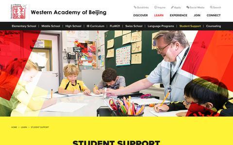 Screenshot of Support Page wab.edu - Student Support   Western Academy of Beijing - captured Oct. 18, 2018