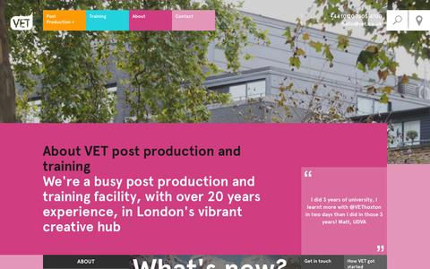 Screenshot of About Page vet.co.uk - About VET Post Production and Training - captured Oct. 9, 2014
