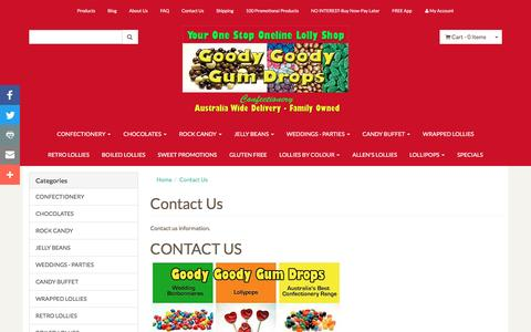 Screenshot of Contact Page goodygoodygumdrops.com.au - Contact us - captured March 4, 2017