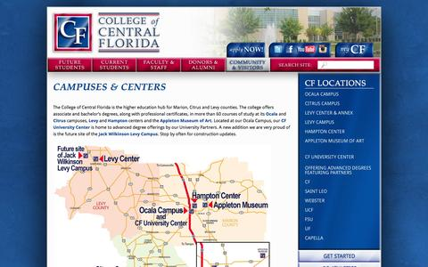 Screenshot of Locations Page cf.edu - Locations - captured Jan. 21, 2016