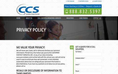 Screenshot of Privacy Page yourccsteam.com - Privacy Policy | Customer Contact Services - captured Nov. 20, 2015