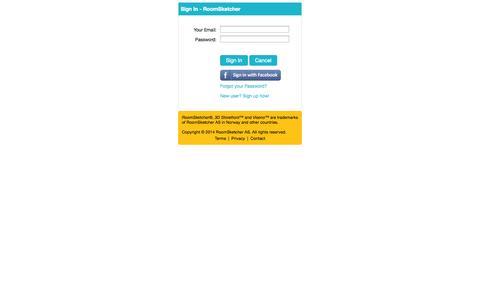 Screenshot of Login Page roomsketcher.com - Sign In - RoomSketcher - captured Oct. 26, 2014