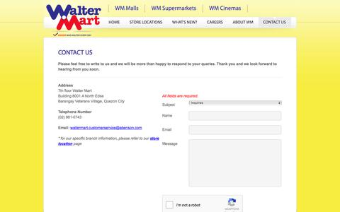 Screenshot of Contact Page waltermart.com.ph - Walter Mart - Contact Us - captured Oct. 19, 2017