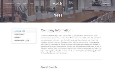 Screenshot of Press Page weebly.com - Weebly - Press and Company Info - captured April 13, 2016