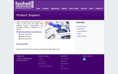 Screenshot of Support Page isohelix.com - Product Support - Isohelix Ltd - captured Jan. 22, 2016