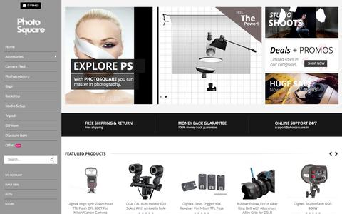 Screenshot of Home Page photosquare.in - Online Camera Accessory India Shop online Flash,Softbox,Camera Backpack,Studio Light Setup,Chroma Key Backdrop and more at photosquare - captured Jan. 14, 2016