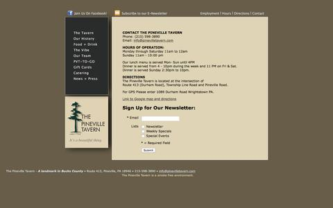 Screenshot of Contact Page Maps & Directions Page Hours Page pinevilletavern.com - Pineville Tavern, Pineville Bucks County - captured June 19, 2016