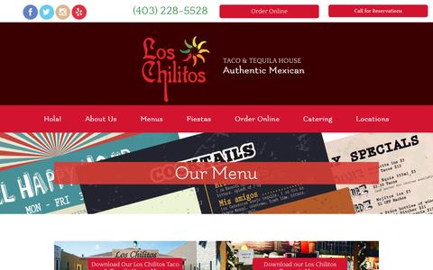 Screenshot of Menu Page loschilitos.ca - Menus | Los Chilitos Taco & Tequila House - captured Jan. 11, 2017